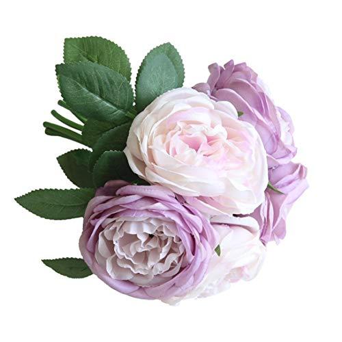 Artificial Flowers, MaxFox 5 Heads Peony Silk Fake Bridal Bouquet Rose Leaf Flower Home Office Wedding Party Decor (Purple) ()