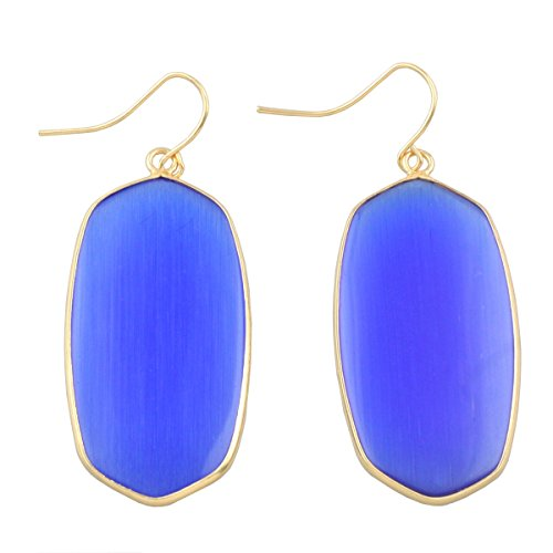 rockcloud Blue Cat's Eye Stone Dangle Hook Earrings Oval Gold Plated