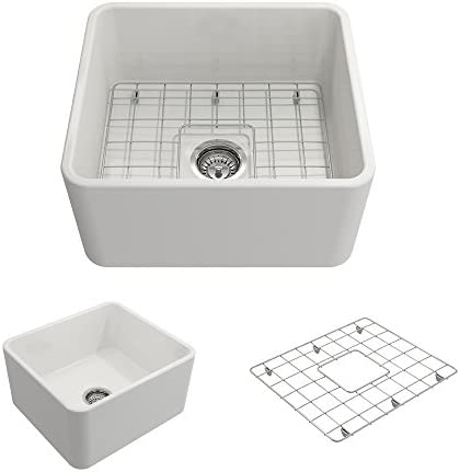 BOCCHI 1136-001-0120 Classico Apron Front Fireclay 20 in. Single Bowl Kitchen Sink with Protective Bottom Grid and Strainer in White