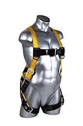Guardian Fall Protection 1703 Velocity Economy Harness HUV Pass Thru Chest and Tongue Buckle Legs, Small/Large