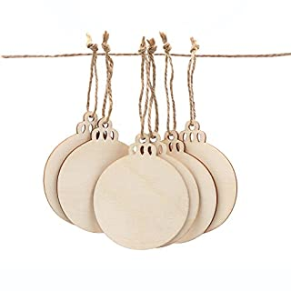 aytai 50pcs round wood slices with twines diy crafts unfinished wooden christmas ornaments blank