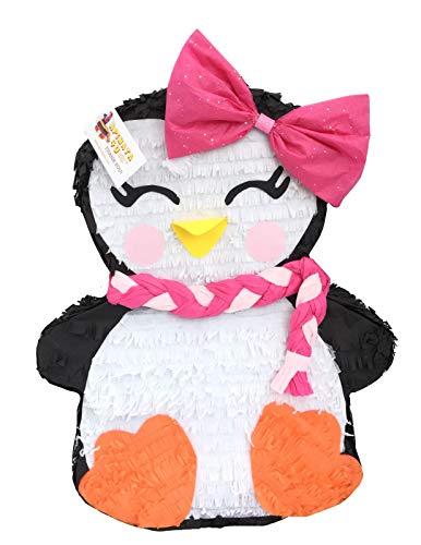 APINATA4U Girly Christmas Penguin Pinata with Pink Bow -