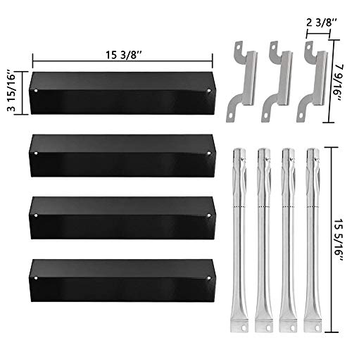 (SHINESTAR Grill Heat Shield for Brinkmann 810-8411-5, 810-2415-W and More Replacement Parts, 15-3/8 inch Porcelain Steel Heat Plate Tent Flame Tamer & Carryover Crossover Burner & Burner Tube(4 Set))