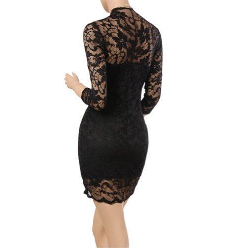 Miusol Damen Kleid V-Ausschnitt Kleider Mini Spitzenkleid Ball-Abendkleid Gr.36-44 (36/S, Schwarz)