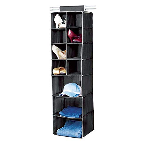 Hanging Closet Organizer - 10 Section, Home Hanging Clothes Storage Box for Clothing, Sweaters, Shoes, Accessories - Keep Your Bedroom Wardrobe Clean & Tidy - Black