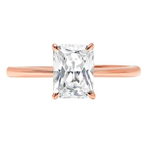 Settings Cut Diamond Radiant - Clara Pucci 2.6ct Radiant Brilliant Cut Simulated Diamond Classic Solitaire Designer Statement Ring Solid 14k Rose Gold for Women, 10.25