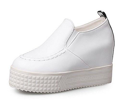 AllhqFashion Damen PU Leder Rein Ziehen auf Rund Zehe Hoher Absatz Pumps Schuhe Weiß