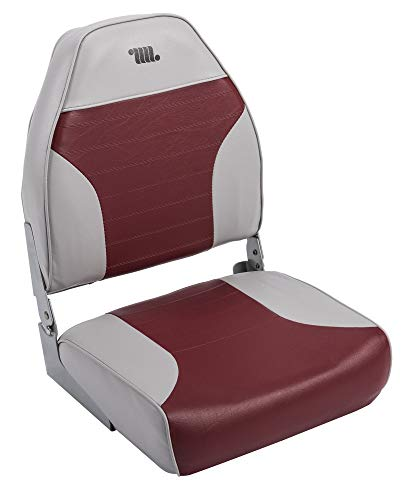 - Wise 8WD588PLS-661 Mid-Back Fishing Boat Seat with Logo, (Grey/Red) (Renewed)