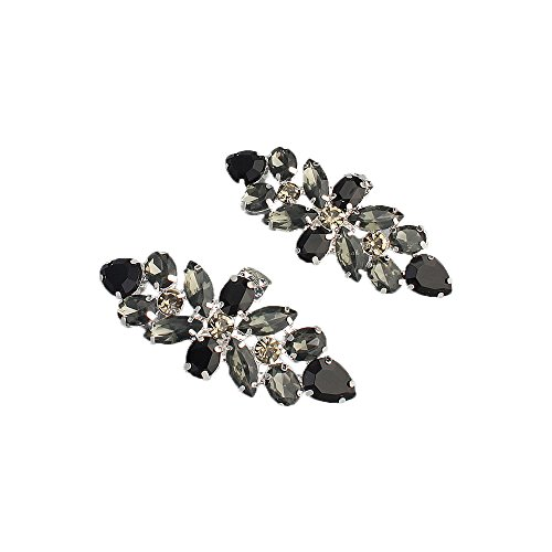 Black Rhinestone Clip - 2 Colors Crystal Wedding Shoe Clips Rhinestone Shop Buckles for Party Event Shoes Hats Dresses (Black Crystal)
