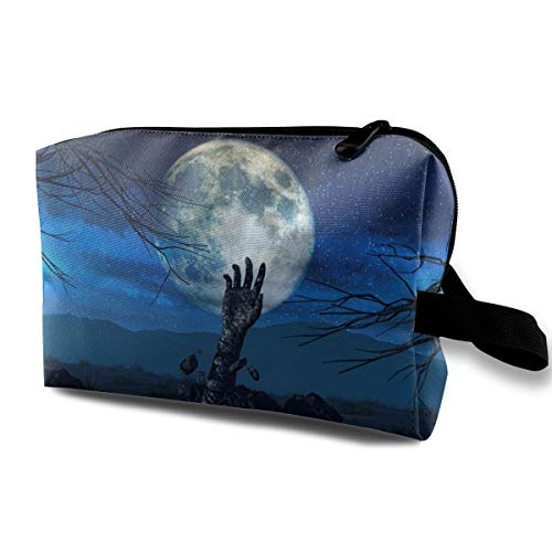 Halloween Background With Zombie Hand Multi-function Travel Makeup Toiletry Coin Bag Case ()