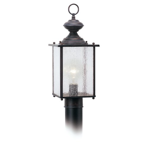 Sea Gull Lighting 8286-08 Jamestowne One-Light Outdoor Post Lantern with Clear Seeded Glass Panels, Textured Rust Patina Finish