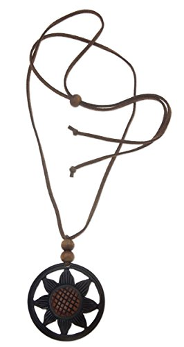 "NOVICA Coconut Shell Pendant Necklace, 19.75"", Balinese Sunflower"