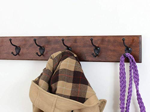 Solid Cherry Wall Mounted Coat Rack with Oil Rubbed Bronze Wall Coat Hooks - Made In the USA
