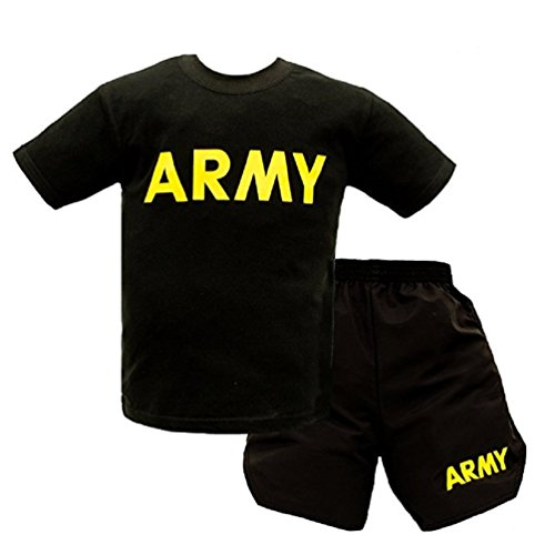 Trooper Clothing Kids US Army Military Pt Short Set 2 Pc X-Small Black - Baby Army Uniform