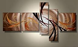 Wieco Art - Large The Extension Of The Universe Modern Gallery Wrapped Artwork Abstract 100% Hand Painted Oil Paintings on Canvas Wall Art Ready to Hang for Living Room Kitchen Home Decor 5 pcs/set