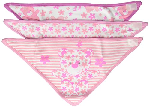 Little Beginnings Girls 3 Piece Bandana Bibs, Teddy Bear Pink (Little Beginnings Girl)