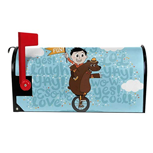 SANCR Fun Boy & Bear Unicycle Magnetic Mailbox Cover,Double-Sided Printing,Vinyl,Size 18