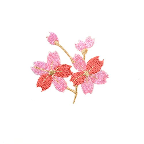XUNHUI Patches for Clothing Pink Flower/Cherry Blossoms Patches for Apparel DIY Accessories 2 Pieces (Case Flower Patch)