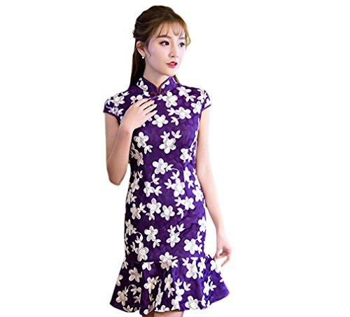Form Muster Chinesische ACVIP Damen Dunkellila Fischschwanz Polyester Etuikleid Blumen FEH6EAqUw