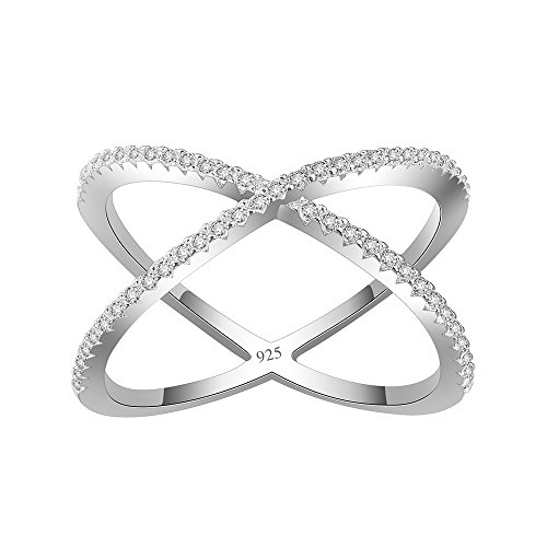 Lavencious Clear Circle X Ring 925 Sterling Silver Statement with White AAA CZ Criss Cross (Silver, 8)