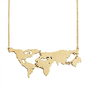 MJartoria World Map Charm Pendant Necklace Gold Color