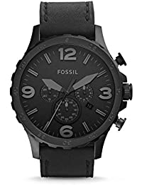Men's JR1354 Nate Stainless Steel Chronograph Watch with Black Leather Band