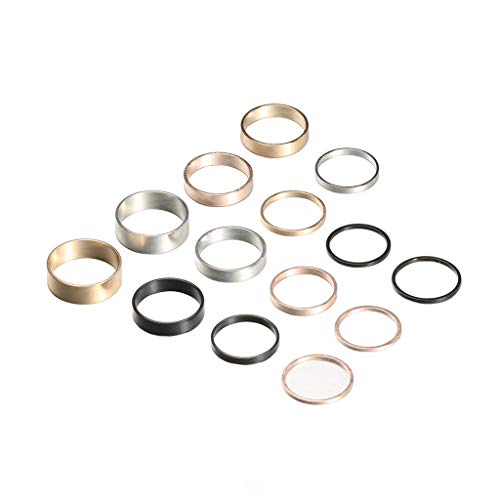 Agelloc Stackable 14pcs Silver Rose Gold Black Tone Stainless Steel Comfort Fit Wedding Band Ring Women's Plain Band Knuckle Stacking Midi Rings Set