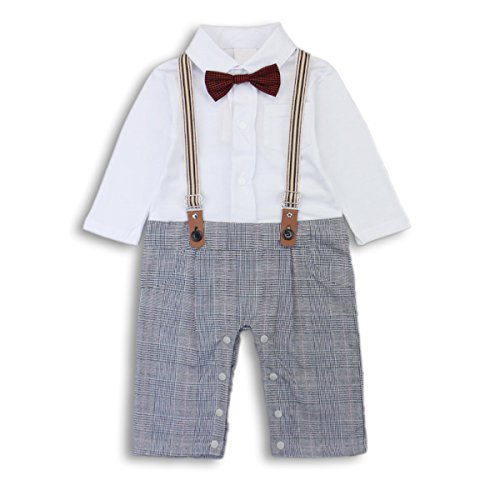 Baby Boy Romper Jumpsuit Toddler Outfits Suit Set with Bowtie and Straps Grey Label 80 / 6-12 (Thanksgiving Outfit For Baby Boy)