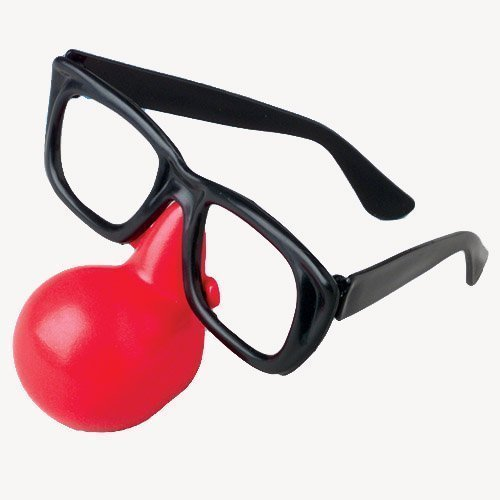 Clown Nose With Glasses (1 Dozen) - Bulk by US by - With Glasses Attached Nose