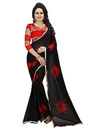 Shonaya Women Black & Red Colour Chiffon Lace Border Saree