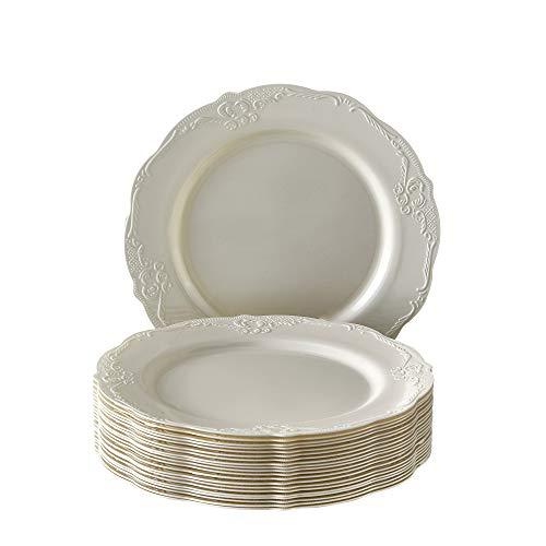 DISPOSABLE DINNERWARE SET, 20 Dessert Plates (Vintage Cream - 7.5