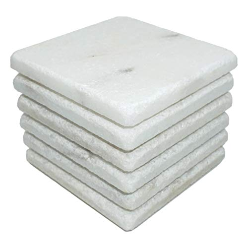 - Stella Drink Coasters 6pc - Premium Absorbent Natural Stone (Mugla White Marble)