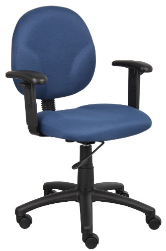 Boss Office Products B9091-BE Dimond Task Chair with Adjustable Arms in Blue by Boss Office Products