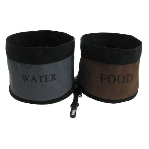 Zippered Double Pet Bowl for Travel Color: Camouflage, My Pet Supplies