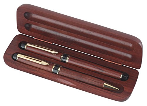 Rosewood Roller Pen And Ball Point Pen Set With Wooden Box Computers, Electronics, Office Supplies, -