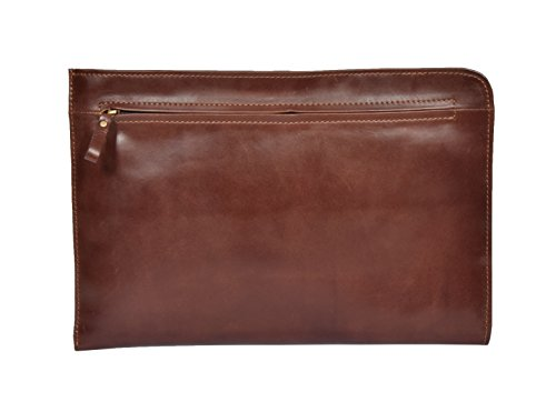 Leather Soft Folder Bag A4 Brown Organiser Folio Document Hlg691 Underarm Conference ROAOB