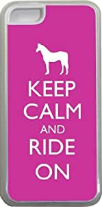 Rikki KnightTM Keep Calm and Ride On - Pink Rose Color Design iPhone 5c Case Cover (Clear Rubber with bumper protection) for Apple iPhone 5c