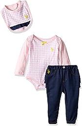 U.S. Polo Assn. Baby Girls\' Long Sleeve Creeper, Jogger Pant, and Bib, Coastal Pink, 18M