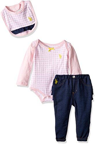 U.S. Polo Assn. Baby Girls' Long Sleeve Creeper, Jogger Pant, and Bib, Coastal Pink, 18M