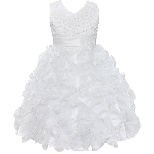 FEESHOW Ruffle Flower Girl Princess Dress for Wedding Pageant Party Ball Prom, White, 9-10 (White Dress For Teenager)