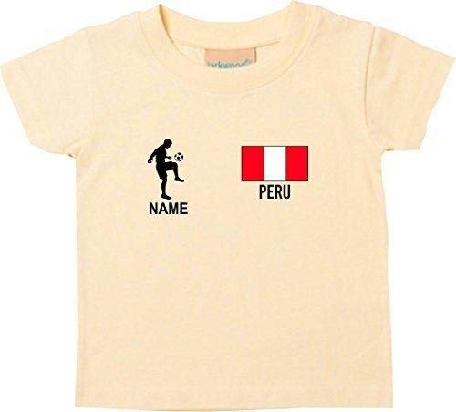 Shirtstown Kids Camiseta Camiseta de Fútbol Perú con Su Nombre Deseado Estampado - Amarillo Claro,