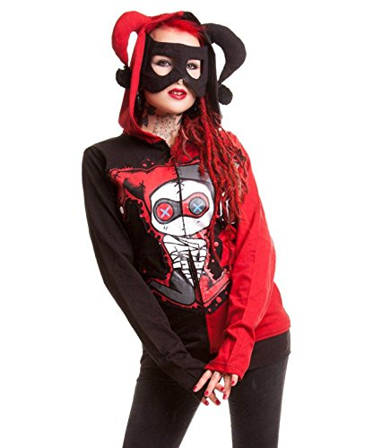 Cupcake Cult hooded corset style back Harley Quinn hoodie Black/Red Size US14/16 (UK16/18)[label Xlarge]