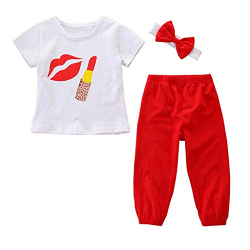 - oddler Baby Girls Outfits Clothes Cute Print T-Shirt+Pencil Pant+Headband Set Lipstick and Large Lip Print Pattern (White, 80)