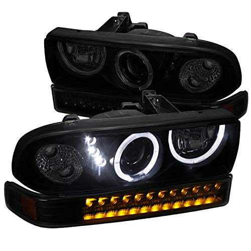 (Chevy 98-04 S10 Blazer Black Smoke Halo Projector Headlights+LED Bumper Lamps)
