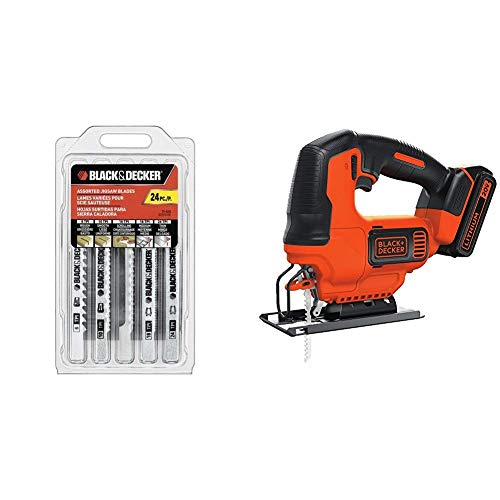 BLACK+DECKER 75-626 Assorted Jigsaw Blades Set, Wood and Metal, 24-Pack with BLACK+DECKER BDCJS20C 20V MAX JigSaw