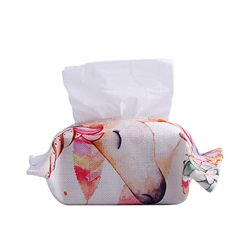 - X Hot Popcorn Fashion Tissue Box Cover Cloth Linen Rectangle Tissue Box Holder for Bathroom Vanity Countertops (Unicorn)