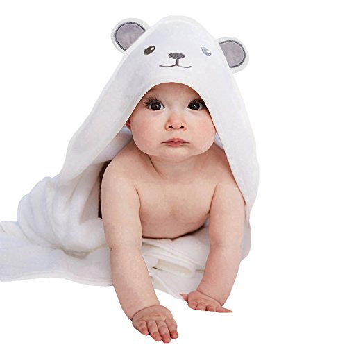 Luxury Extra Soft Baby Bamboo Hooded Towel with Adorable Bear Design | Antibacterial and Hypoallergenic 100% Organic Bamboo Baby Towels for Infants and Toddlers | Ideal Baby Shower Gift