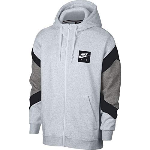 NIKE Mens Air Fleece Full Zip Hoodie Birch Heather/Black/Grey Heather 928629-051 Size 2X-Large
