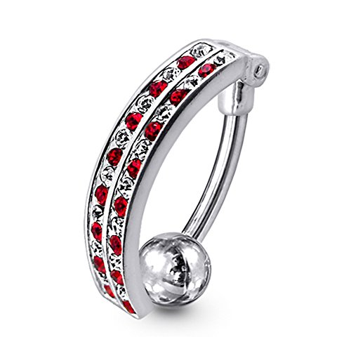 Red Gemstone Fancy Curved Style Reverse Bar 925 Sterling Silver with Stainless Steel Belly Button Navel Rings