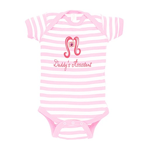 Price comparison product image Pink Camera Daddy s Assistant Ruffle Baby Baby Combed Ring-Spun Cotton Stripe Fine Bodysuit One Piece - White Soft Pink,  12 Months